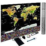 Póster de mapa del mundo para rascar, mapa del mundo personalizado, con países/estados/ciudades, 32.5 x 23.4 pulgadas, juego completo de accesorios