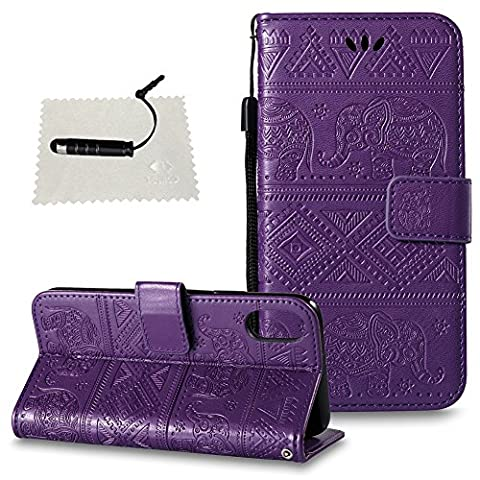 Case for iPhone X,iPhone X Case Leather,iPhone X Case Wallet - TOCASO PU Leather Notebook Design Flip Folio Case Inner Soft TPU Case with [Card Slot] [Magnetic Closure][Wallet Function] Protective Skin Embossed Indian Elephant Holster for iPhone X Model -