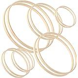 Sntieecr Set di 12 anelli in legno con motivo floreale in bambù, per decorazioni fai da te, ghirlande, acchiappasogni e lavor