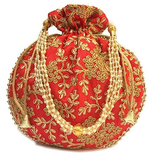 EXPRESSIONSS Ethnic Rajasthani Women's Potli Handbag Wallet | Women Potli Bags (Red)