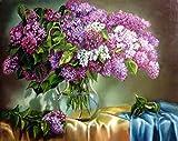 Obella Peinture par numéros Kits issu de la gamme Lilas Fleurs 50x 40cm issu de la gamme Peinture par numéros numériques, peinture à l'huile, sans cadre