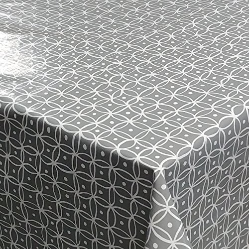DecoHomeTextil d-c-fix Wachstuch Manhattan Grau LFGB Breite & Länge wählbar abwaschbare Tischdecke Eckig 120 x 240 cm (Mohn Küche Dekor)