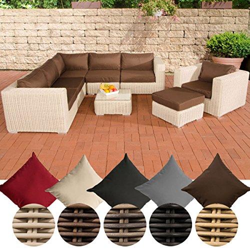 CLP Polyrattan - Gartenlounge ARIANO inklusive Polsterauflagen | Garten-Set bestehend aus einem Ecksofa, einem Sessel, einem Hocker und einem Loungetisch | In verschiedenen Farben erhältlich Rattan Farbe perlweiß, Bezugfarbe: Terrabraun