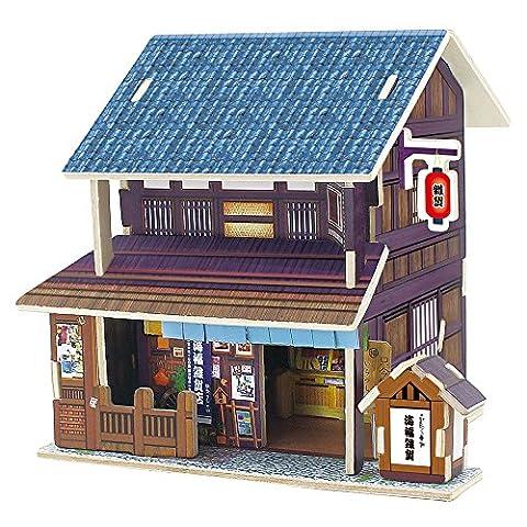 ROBOTIME Holz 3D Haus der Puzzlespiele Japanisches Geschenk f¨¹r M?dchen-Lebensmittelgesch?ft-Speicher-Holzbausatz-Installationssatz-Zusammenbau DIY globales Art-Haus