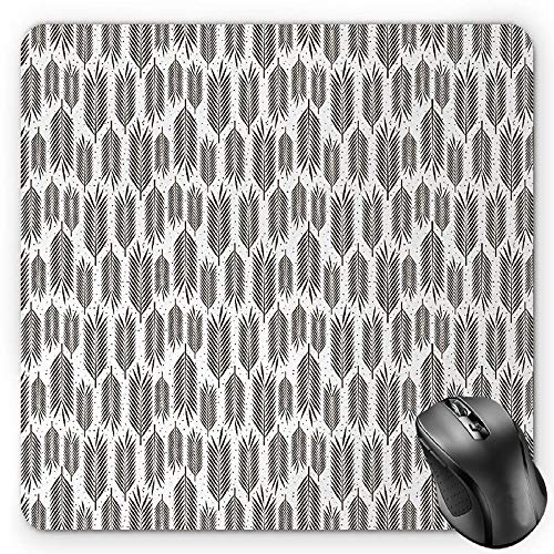 BGLKCS Leaf Mauspads,Stylized Palm Leaves with Sharp Edges and Little Dots Tropical Jungle Inspired,Standard Size Rectangle Non-Slip Rubber Mousepad,Seal Brown White
