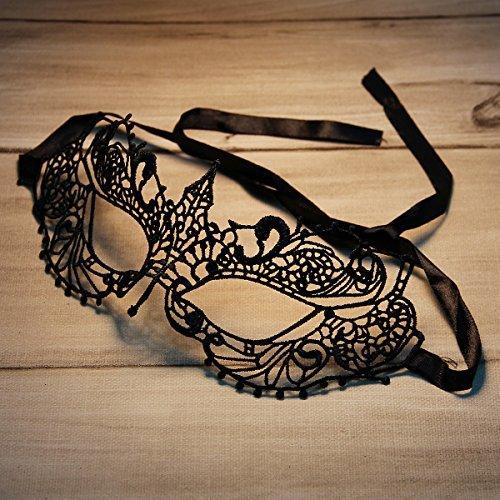 Höhle aus Spitze Design Halloween Masquerades Party Augenmaske Schwarz (Heath Ledger-joker Make-up Halloween)