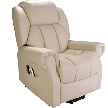 Hainworth Leather Electric Powered Recliner Chair with Heat and Massage - Choice of Colours (Cream)