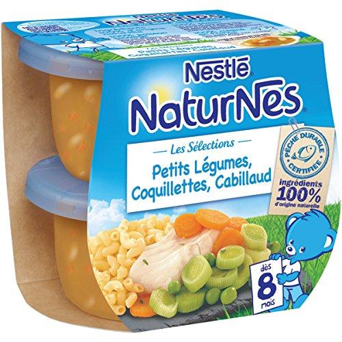 Nestlé Bébé Naturnes Petits Légumes Coquillettes Cabillaud Plat complet dès 8 mois 2 x 200g - Lot de 6
