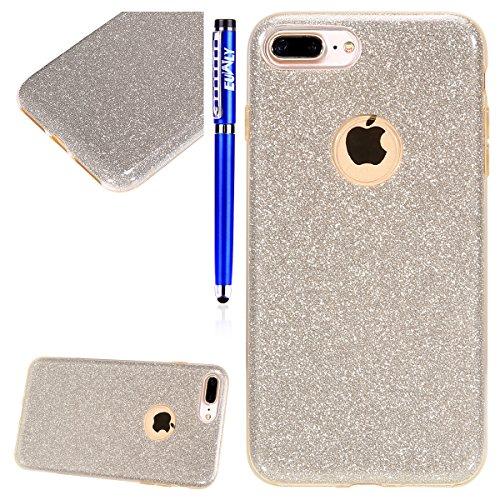 EUWLY Glitzer Bling Handy Tasche für iPhone 8 Plus/iPhone 7 Plus, Kristall Sparkle Schutzhülle für iPhone 8 Plus/iPhone 7 Plus, Bling Glitzer Shinning Pailletten Handyhülle Ultra Dünn Crystal Bum