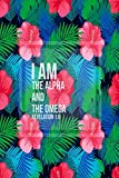 Revelation 1:8 I am the Alpha and the Omega: Bible Verse Quote Cover Composition Notebook Portable