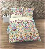 IDO Mako Satin Bettwäsche 2 teilig Bettbezug 155 x 220 cm Kopfkissenbezug 80 x 80 cm bunt Muster