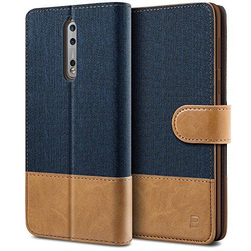 BEZ® Hülle für Nokia 8 Handyhülle, Schutzhülle Kompatibel für Nokia 8 Hülle Handytasche Tasche [Stoff und PU Leder] mit Kreditkartenhaltern, Blaue Marine