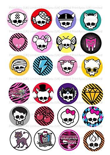 24 decoraciones para tartas de 4 cm con logotipos de ND3 Monster High