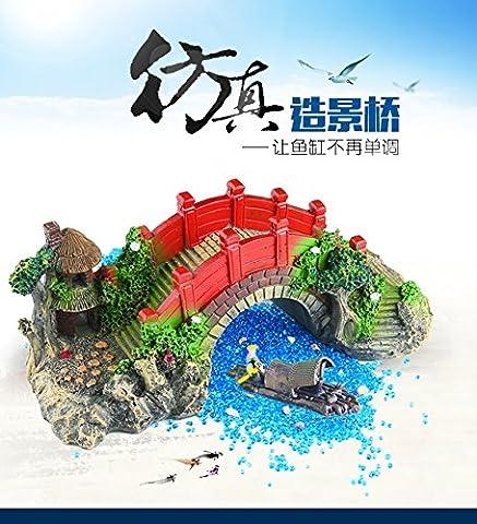 Suunhh Fish Tank Décoration du Paysage pont Aquarium Ornament-resin Tortue, Petit pont Rouge