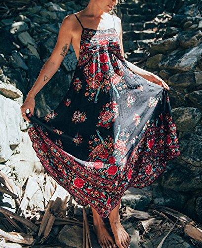 ASSKDAN Femmes Bohème Robe à Bretelle Imprimé Floral Sans Manche Dos Nu Maxi Robe d'été 2017 Imprimé