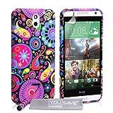 Yousave Accessories Coque HTC Desire 610 Noir / Couleur Multi Silicone Gel Méduse Housse Avec Mini Stylet