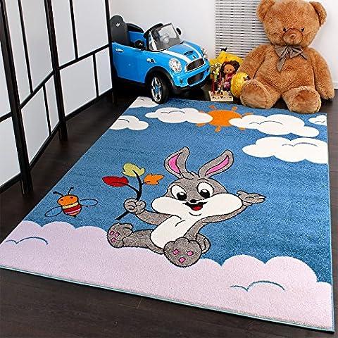 Alfombra Infantil - Diseño De Conejito - Turquesa Crema - Precio Increíble, Grösse:80x150 cm