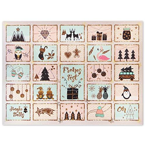 Adventskalender zum Befüllen für Mädchen und Frauen in Rosa, Mint und Gold. Geschenkanhänger mit...
