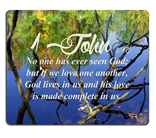 Bibel Verse Zitat 1John 4_ 10NO ONE je gesehen hat Gott aber wenn wir Love One Another Gott Leben in uns und seine Liebe ist aus komplett in uns MSD Made, um Bestellung Tuch mit Neopren Gummi Maus Pads