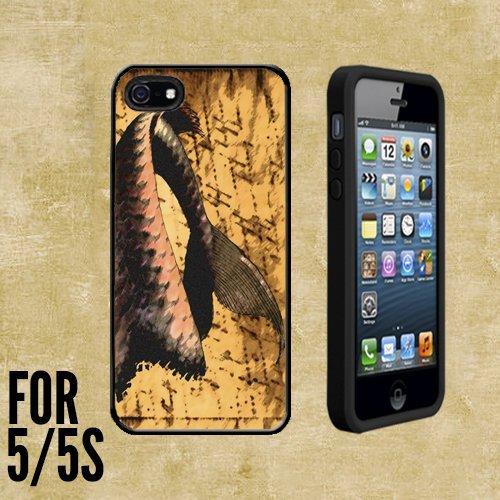 Antik Meerjungfrau Schwanz Custom Made Case/Cover/Skin für Apple iPhone 5/5S–Schwarz–Gummi Fall + kostenlose DISPLAYSCHUTZFOLIE (Schiff von (Meerjungfrau Gummi Schwänze)