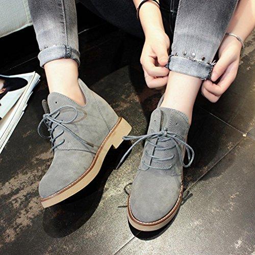 Tefamore Femmes Bottes Martin Boots Style britannique Casual Talon plat Mode Chaussures Marron