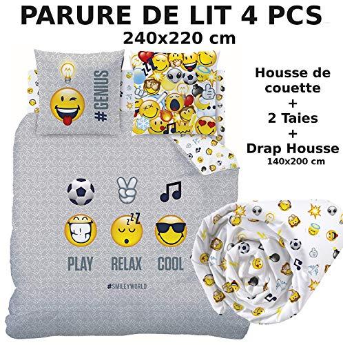 Smiley !!! Pack !!! Parure de lit + Drap Housse !!! 100% Coton - Housse de Couette (240x220) + 2 Taies d'oreiller (63x63) + Drap Housse (140x190) - Emoji Emoticons