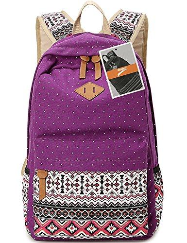 Leaper Rucksack aus Canvas mit hübschem Polka Dot aztekischen Mustern Schulrucksacke (Lila)