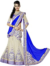 Murlidhar Creation Women's Net Semistiched Lehenga Choli (Blue)