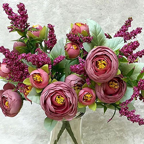 Mini Rose 1 Ramo 10 Cabezas Bonita Boda Ramo de Flores de Seda Artificial Flores Novia Decoración de La Boda en Casa Flor de Peonía Falsa Rojo