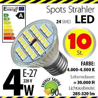 10-er Pack ALMIPEX E27 LED Lampe 4W (320lm - 4500 K - Weiß - 24 x 5050 SMD LED - 120º Abstrahlwinkel - E27 Sockel - 230V AC - 4 Watt - Ø 50×54 mm)