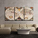 Wall Painting Antique World Map Henricus Hondius 3 Panels   Multiple Frames Split Painting on 5 mm White Sun board   Drawing Room   Tv wall   Office   Top Quality   Wall Decor   Home   Ready to hang   HD Print By Paper Plane Design (Large - 24 x 48 inch)