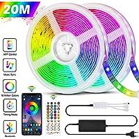 Ruban LED Bluetooth, Bande LED 20M 5050 RGB 600 LEDs Bande Lumineuse Flexible Multicolore, avec Télécommande à 40 Touches, Synchroniser avec la Musique, pour Fête Décor pour la Maison Chambre Bar