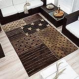 Design Velours Kurzflor Teppich »Superstar« Stern Sternchen braun beige, Größe:160x230 cm