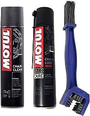 MOTUL + LAMPA KIT PULISCI LUBRIFICA CATENA motul Chain Clean C1 + motul C2 Chain Lube Road + SPAZZOLA