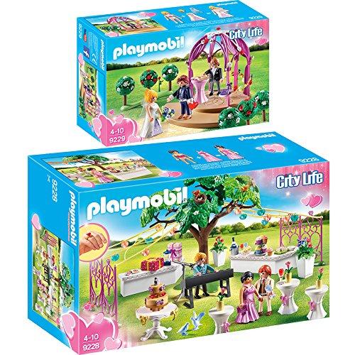 Preisvergleich Produktbild PLAYMOBIL® City Life 2er Set 9228 9229 Hochzeitsparty + Hochzeitspavillon mit Brautpaar