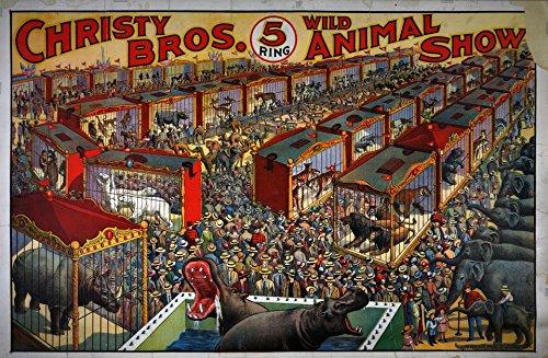 The Poster Collective Vintage Christy Bros. Wild Animal Show Nilpferd Löwe Elefant Art Nouveau Poster 42cm x 59,4cm A2Größe Qualität Druck, Holz, bunt, 59,4x 42x 59,4cm (Art Show Poster)