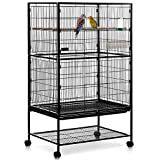 MILO & MISTY 2 Tier Large Metal Aviary Bird Cage for Cockatiels, Parrots, Parakeets - Black