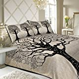 #10: SheetKart Tree of Life 144 TC Cotton Double Bedsheet with 2 Pillow Covers - King Size, Superior Black