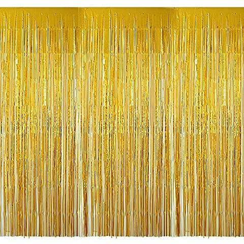 (2M * 1M) 4 Packung Metallfolie Fringe Vorhang Lametta Vorhang dekorative Vorhänge für Party Deko,Hochzeitsdeko,geburtstagsparty deko (Gold)