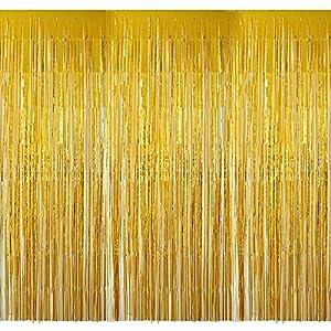 4 Packung Lametta Vorhang Glitzer Gold Glitzervorhang Fringe Vorhang Fransen Vorhang Lametta Girlande Party Vorhang…