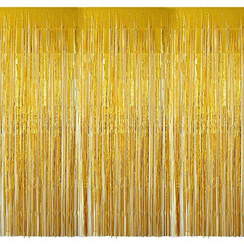 (2m*1m) 4 pezzi lamina metallica frangia tende a frange oro foil curtaindi porta e finestra decorazione di martimonio e festa (oro)