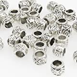 50x Metallperlen Spacer kleine Beads 3,5x4mm Metall Perlen altsilber -1649