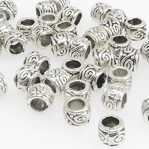 50x Metallperlen Spacer kleine Beads 3,5x4mm Metall Perlen altsilber -1649 Metall-perlen