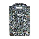 Herren Hemd, 100% Baumwolle, regulŠre Passform, bedruckt mit floralem Paisley-Muster, S M L XL 2XL 3XL 4XL, Kragenweite 37Ð48 cm Gr. XL, Blue Green Paisley