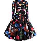 WWricotta Women's Vintage Print Long Sleeve Christmas Evening Party Swing Dress