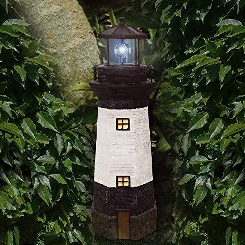 Faro solar para jardín con luz LED rotatoria