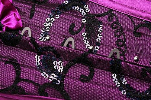 HYSENM Damen Unterbrustkorsett Unterbrustcorsage Unterwäsche Satin Plastikknochen mit Spitze Vollbrust Design inkl. G String Purpurrot
