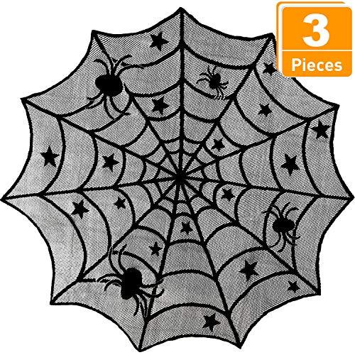 3 Piezas Mantel Tela Araña Encaje Halloween Chimenea