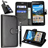 Kamal Star® Huawei Y5 Funda PU Leather Cuero con Tarjeta de Crédito Slots Funda Wallet Carcasa Cover + Stylus (Black Book)