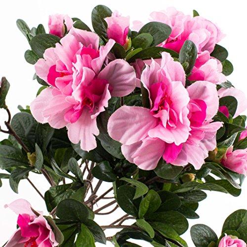 artplants Set 3 x Künstliche Azalee mit 75 Blüten, 400 Blättern, auf Steckstab, rosa, 35 cm, Ø 30 cm – Kunstblume/Textilblumen